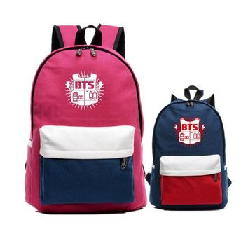 Candy Color BTS Bangtan Boys Mochila Feminina Canvas Women Printing Backpacks Student Fashion School Bags Laptop Backpack