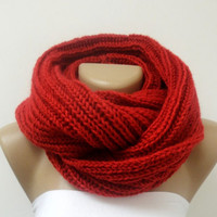 Knitted infinity Scarf Block Infinity Scarf. SOFT Loop Scarf, Circle Scarf, Neck Warmer.red Crochet Infinity,50 polyamide,50 premium acrylic