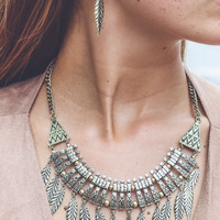 Simple Leaf Statement Necklace and Earring Set in Gold