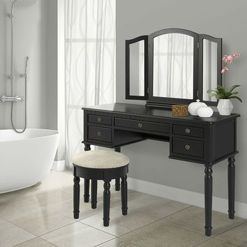 Black Vanity Set with Make-up Table, Tri-Fold Mirror, and Cushioned Stool