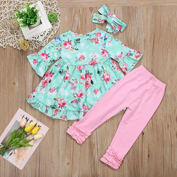 3pcs Toddler and Girls Blue and Pink Floral Outfit Set