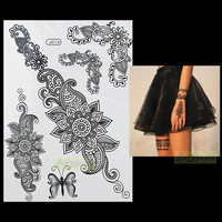 1PC Fashion Flash Waterproof Tattoo Women Black Henna Jewel Lace BJ014 Sexy Secret Arm Body Art Flower Temporary Tattoo Sticker