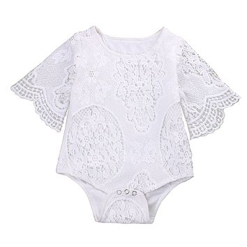 Cute Newborn Baby Girl Romper Clothes 0-24M Infant Bebes Princess Girls Lace Baby Rompers Jumpsuit One Pieces Outfit Sunsuit