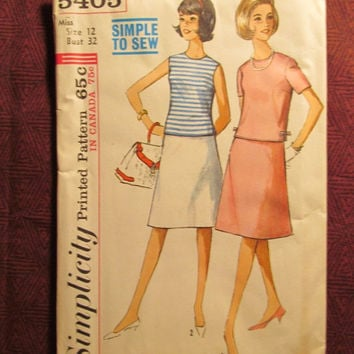 SALE Uncut 1960's Simplicity Sewing Pattern, 5405! Size 12 Bust 32 Small/Medium/Women's/Misses/Flared Straight Skirts/Overblouse/A-line Skir