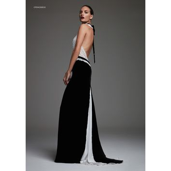 Cristina Pacini black & white backless haute Couture evening dress sz 2/4