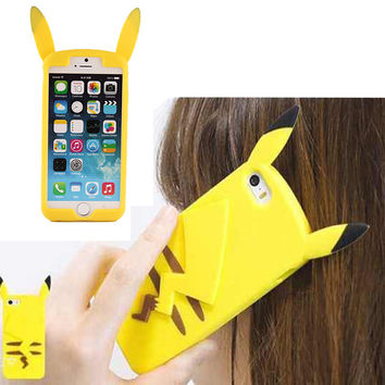 Pokemon New 3D Cartoon Pocket Monsters Pika Soft Silicone Case For IPhone6 For iPhone 6S Plus 5S SE 4 4S Pikachu