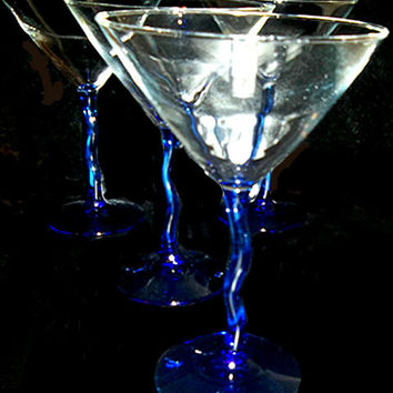 Cobalt Stem Martini Glasses