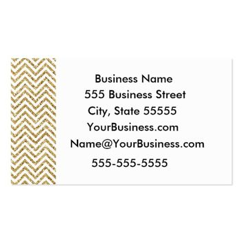 Gold and White Chevron Stripes Business Card