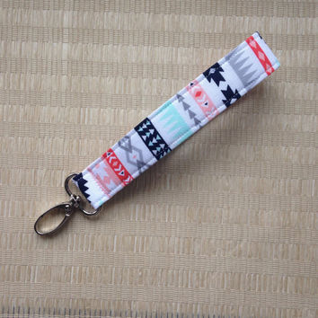 Wrist Keychain / Fabric Keyfob  Key Fob with swivel clasp -  aztec tribal fabric  - aqua navy coral