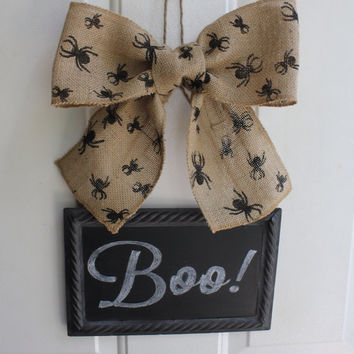 Halloween Decor Sign Wreath Alternative CHALKBOARD Metal Sign Hanging Black Spider Burlap Bow - Write your own message  Interchangeable Bows