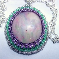 Beaded Cabochon Necklace Opal Look Polymer Clay and Glass Seed Beads