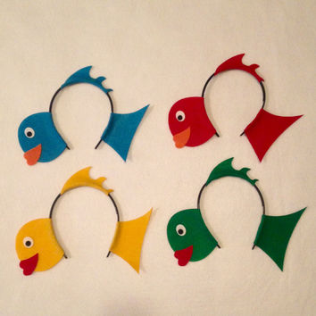 Fish under the sea Theme Headbands birthday party favors supplies decor costume hat goldfish ocean adult child children baby babies kid
