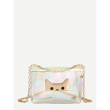 Clear Iridescent Crossbody Chain Bag