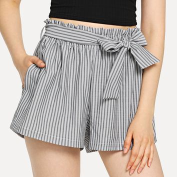 Belted Vertical-Striped Shorts