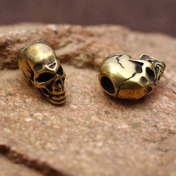 1Pc Brass Skull Knife Pendant EDC Umbrella Rope Paracord Beads Outdoor Camping Equipment Tourism DIY Handmade Accessories Tools