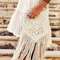 Beige Fringed Crochet Bag