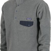 Patagonia Lightweight Synchilla Snap-T Pullover Jacket - nickel w/ navy blue - Free Shipping