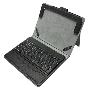 """Ultrathin Aluminum Bluetooth keyboard leather Case for 7"""" IPAD (Black color)"""