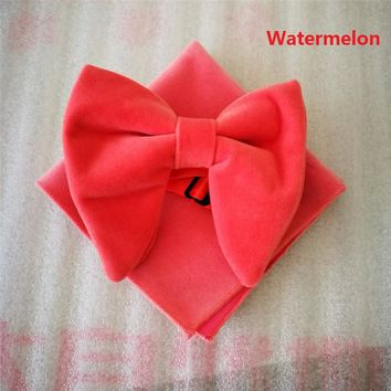 Fashion Mens Watermelon Velvet Bowties Sets Matching hanky Unique Tuxedo Pajaritas Cravats Bow Tie  Hanky Necktie lota