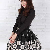 2017 Brand New Top Selling Sweet Checkered/Plaid Kawaii Black Lace Lolita Skirts