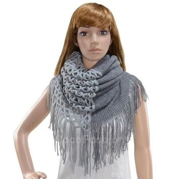 DCCKIX3 Fashion Women's Winter Warm Knitting Scarf Infinity Tassels Scarf CFC = 1946440772