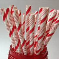 Candy Cane Paper Straws, Red and White, Holiday Straws, Paper Straws, Christmas Straws, Straws for Holidays, Peppermint Stick Straws, 10