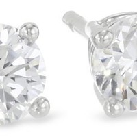 Sterling Silver Round Cut Cubic Zirconia Stud Earrings
