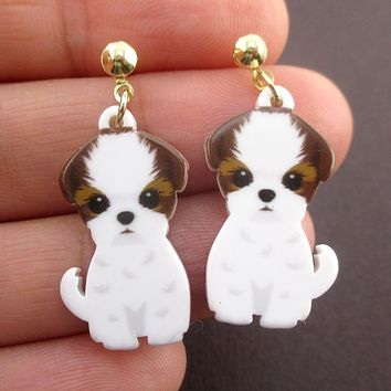 Adorable Cavalier King Charles Spaniel Puppy Shaped Stud Drop Earrings for Dog Lovers
