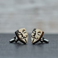 WOOD cufflinks - V for Vendetta - Guy Fawkes mask elegant cuff links