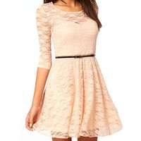 Ninimour- Women's Spoon Neck 3/4 Sleeve Lace Skater Dress Belt (S, Beige)