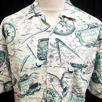 Vintage 90's Set Sail Compass Maps Nautical Crazy Pattern Shirt M