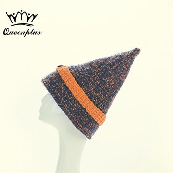 2017 New Fashion Hand knitting Autumn Winter Wide brimmed Button magic Knitted Hat Pointy Hat For Women/Ladies