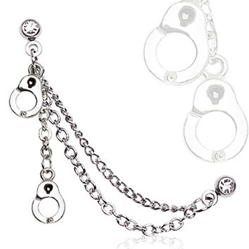 316L Surgical Steel Double Chained Cartilage Earring with Handcuffs