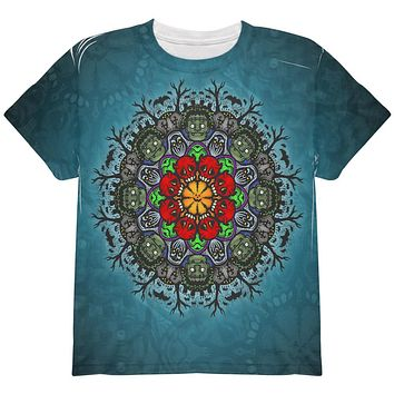 Halloween Classic Movie Monster Mandala All Over Youth T Shirt