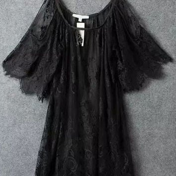 Black Off-Shoulder Lace Crochet Short Sleeve Ruffled A-Line Mini Dress