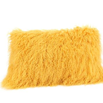 Lamb Fur Pillow Rect. Gold
