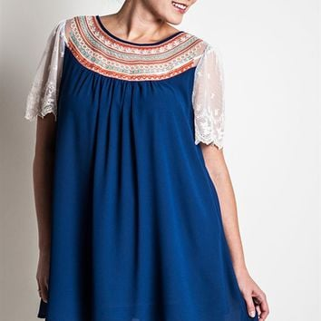 Umgee Plus Embroidered Indigo Tunic Dress with Lace Sleeves