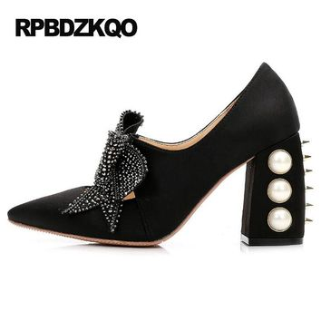 Pumps Chunky Bow Satin Pointed Toe Pearl Rivet Designer Women Luxury 2017 Shoes High Quality Famous Stud Heels Crystal Black