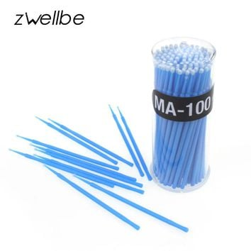 zwellbe 100Pcs/Lot Lint Free Micro Brushes Disposable Swab for Eyelash Extension Micro Mascara Brush for Eyelash Extensions
