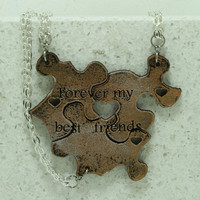 Best Friend Puzzle Piece Interlocking Necklaces 3 Piece Set Leather Pendants Gold and Silver Leather