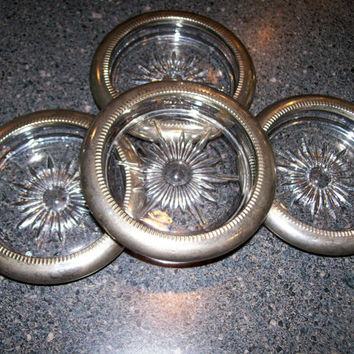Italian Silver Plate and Crystal Coaster Set, Set of Four Vintage Coasters Sunburst Design Crystal, Imprinted Silverplated Italy, Coasterset