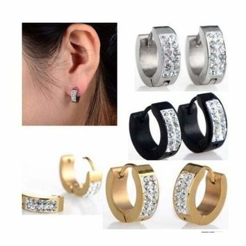 1Pair Men's Women's Punk Rhinestones Crystal Titanium Steel Studs Hoop Earrings