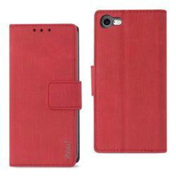 REIKO IPHONE 7/ 6/ 6S DENIM WALLET CASE WITH GUMMY INNER SHELL AND KICKSTAND FUNCTION IN RED