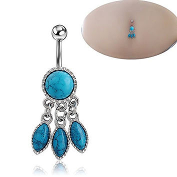 Sunshinesmile Turquoise Belly Button Bar Navel Ring Barbell Body Piercing Jewellery