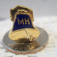 MH Bell Hospital Pin Blue Enamel Gold Tone Unisex Jewelry Accessories