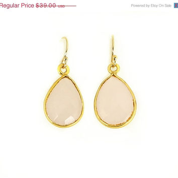 14K Gold Rose Quartz Teardrop Dangle Earrings Faceted Natural Stone Drop Vermeil Bezel Yellow Gold Pink Stone Bridesmaid Gift