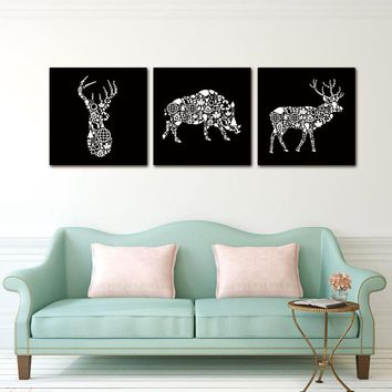 3PCS Creative Wall canvasPainting Pictures decoration  White Deer Head Boar Art Modern AbstractAtelier Studio Bedroom Home Decor