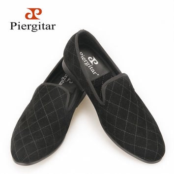 Handmade men black velvet shoes with stitching plaid pattern  smoking slippers Party Wedding men loafers male flats