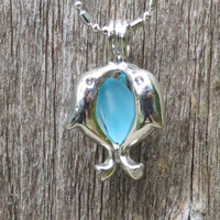 Caribbean Blue Sea Glass Dolphin Locket by Wave of LIfe