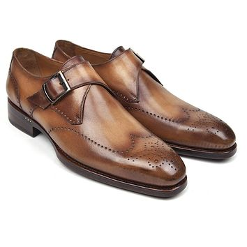 Paul Parkman Wingtip Single Monkstraps Brown & Camel Shoes (ID#98F54-BRW)